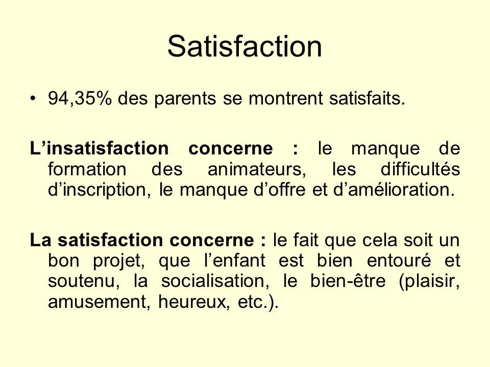 Satisfaction 94,35% des parents se montrent satisfaits.