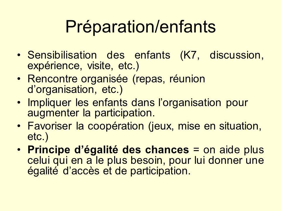 Préparation/enfantsSensibilisation des enfants (K7, discussion, expérience, visite, etc.) Rencontre organisée (repas, réunion d'organisation, etc.)