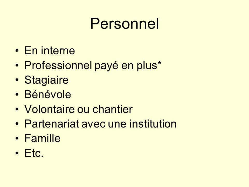 Personnel En interne Professionnel payé en plus* Stagiaire Bénévole