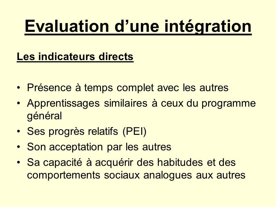 Evaluation d'une intégration
