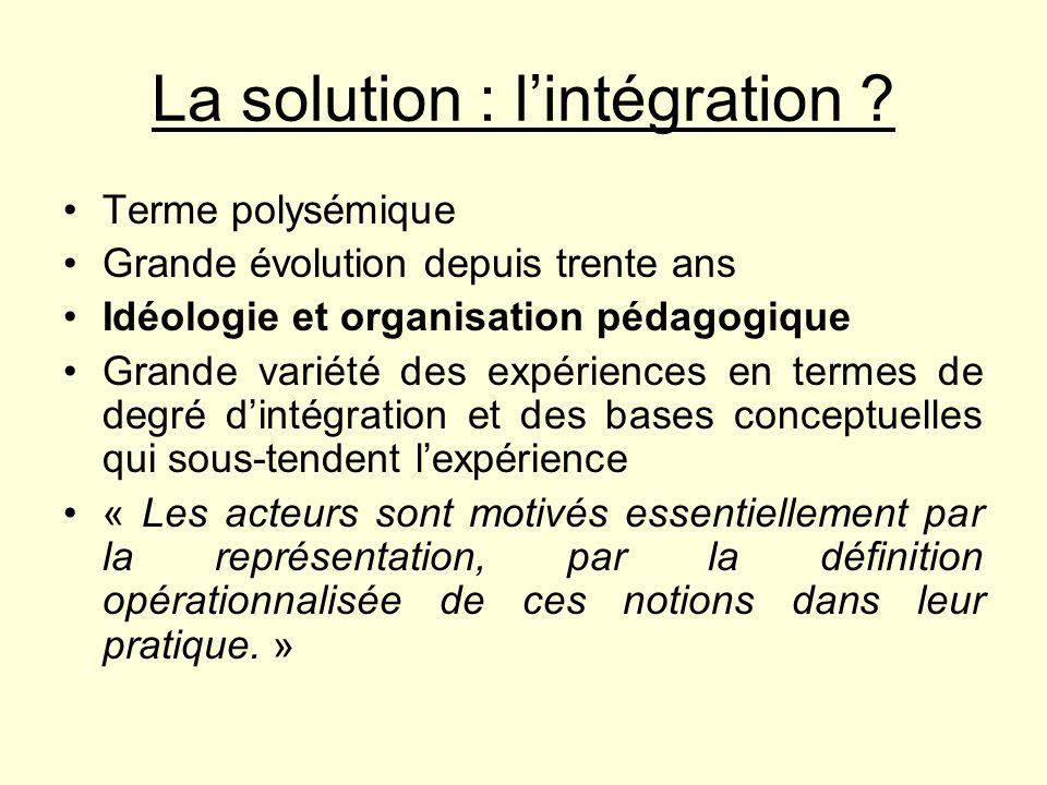 La solution : l'intégration
