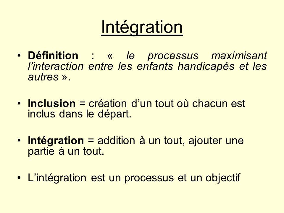 Intégration Définition : « le processus maximisant l'interaction entre les enfants handicapés et les autres ».