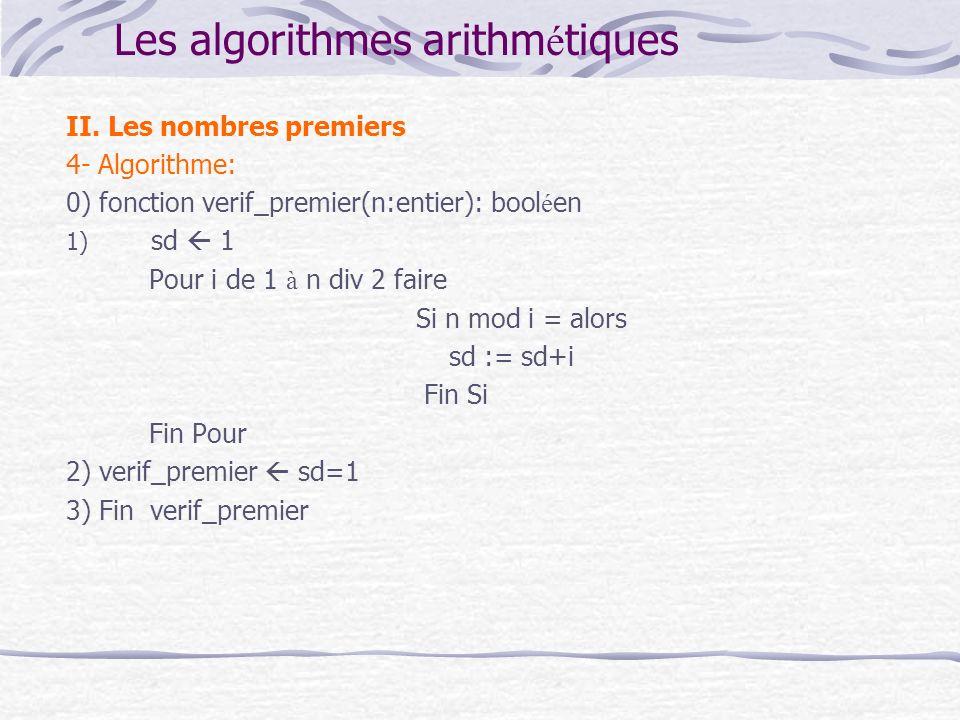 Les algorithmes arithmétiques