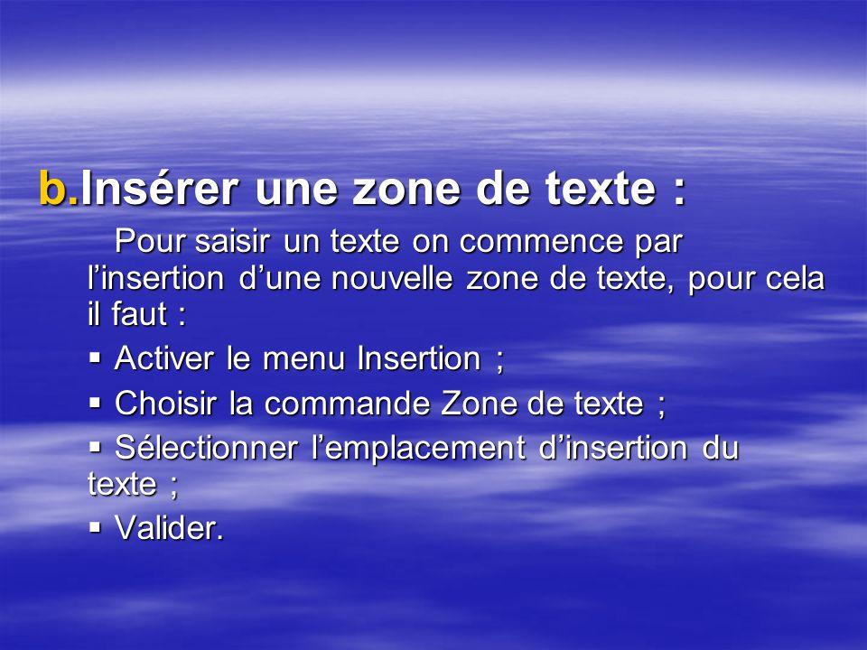 Insérer une zone de texte :