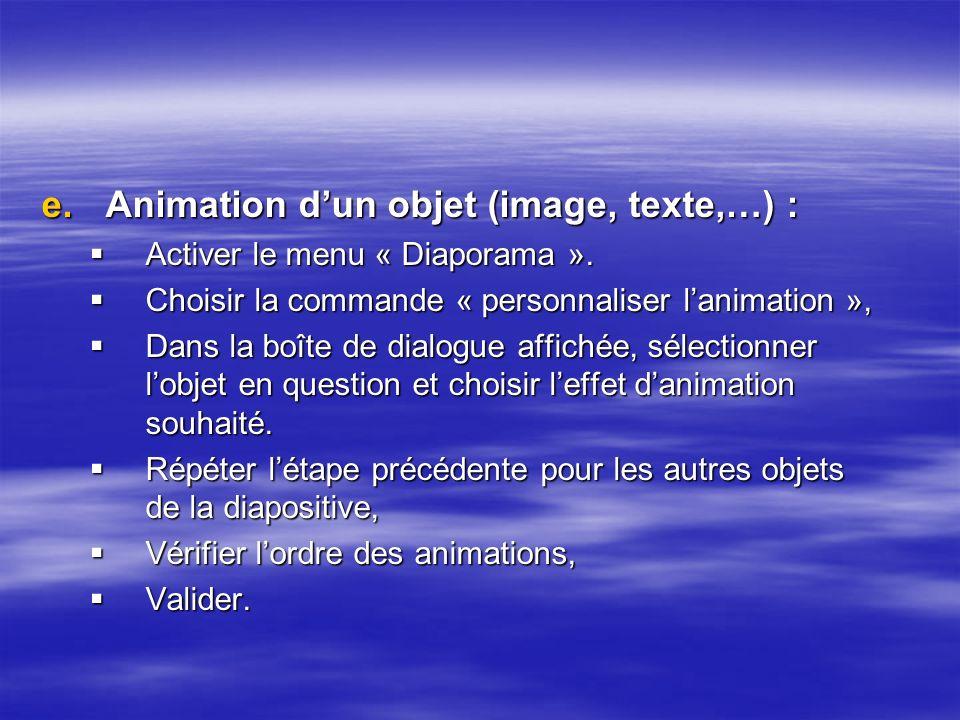 Animation d'un objet (image, texte,…) :