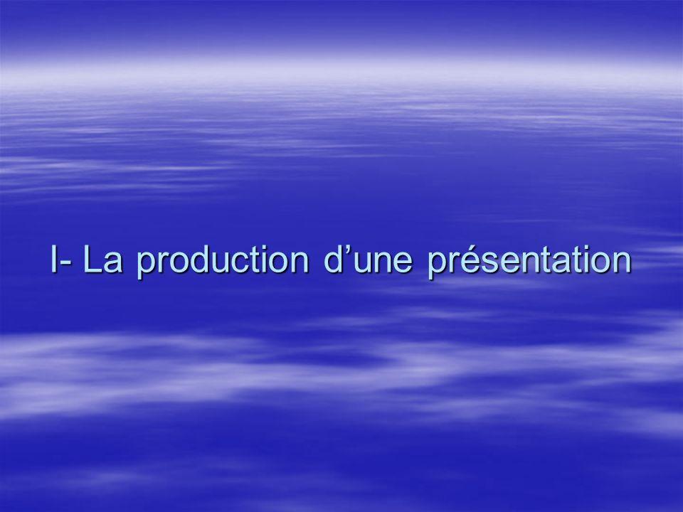 I- La production d'une présentation