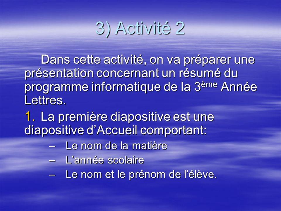 3) Activité 2 Dans cette activité, on va préparer une présentation concernant un résumé du programme informatique de la 3ème Année Lettres.