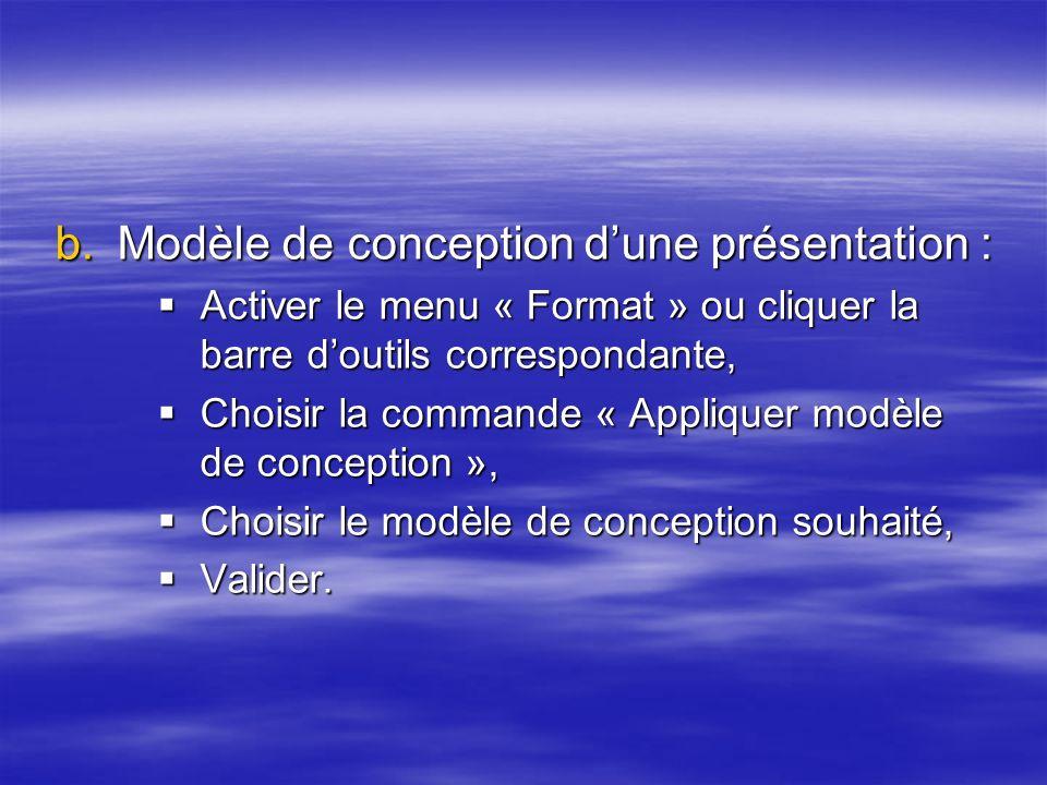 Modèle de conception d'une présentation :