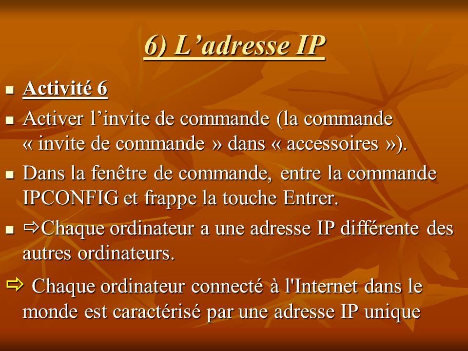 6) L'adresse IPActivité 6. Activer l'invite de commande (la commande « invite de commande » dans « accessoires »).