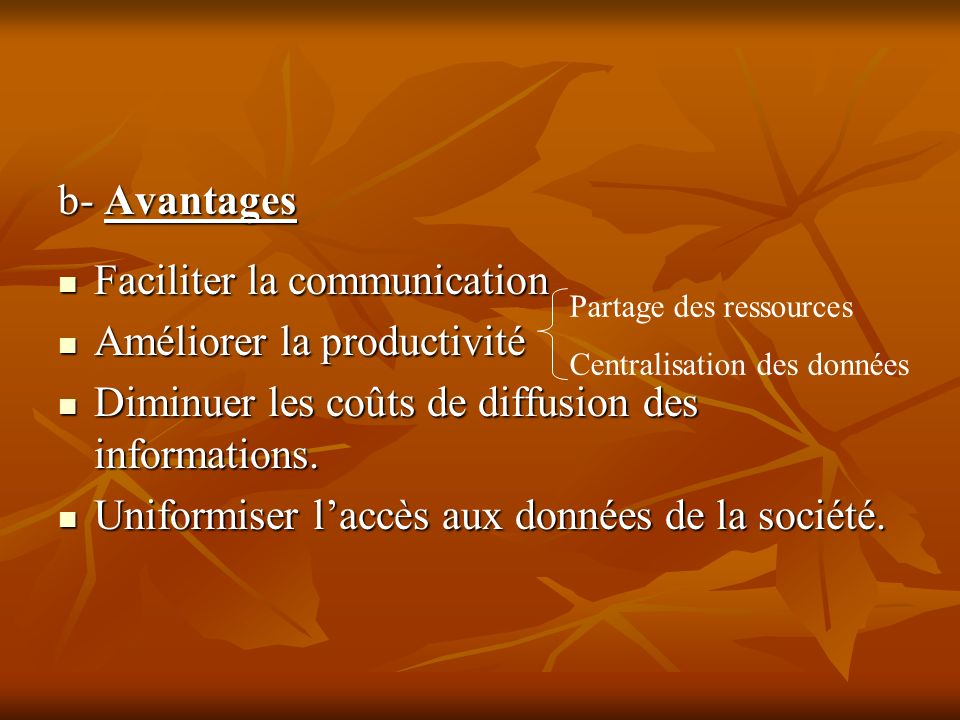 Faciliter la communication Améliorer la productivité