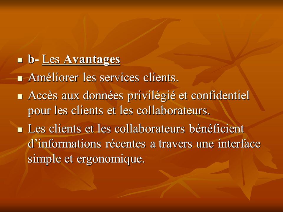 b- Les AvantagesAméliorer les services clients. Accès aux données privilégié et confidentiel pour les clients et les collaborateurs.