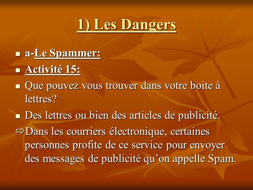 1) Les Dangers a-Le Spammer: Activité 15:
