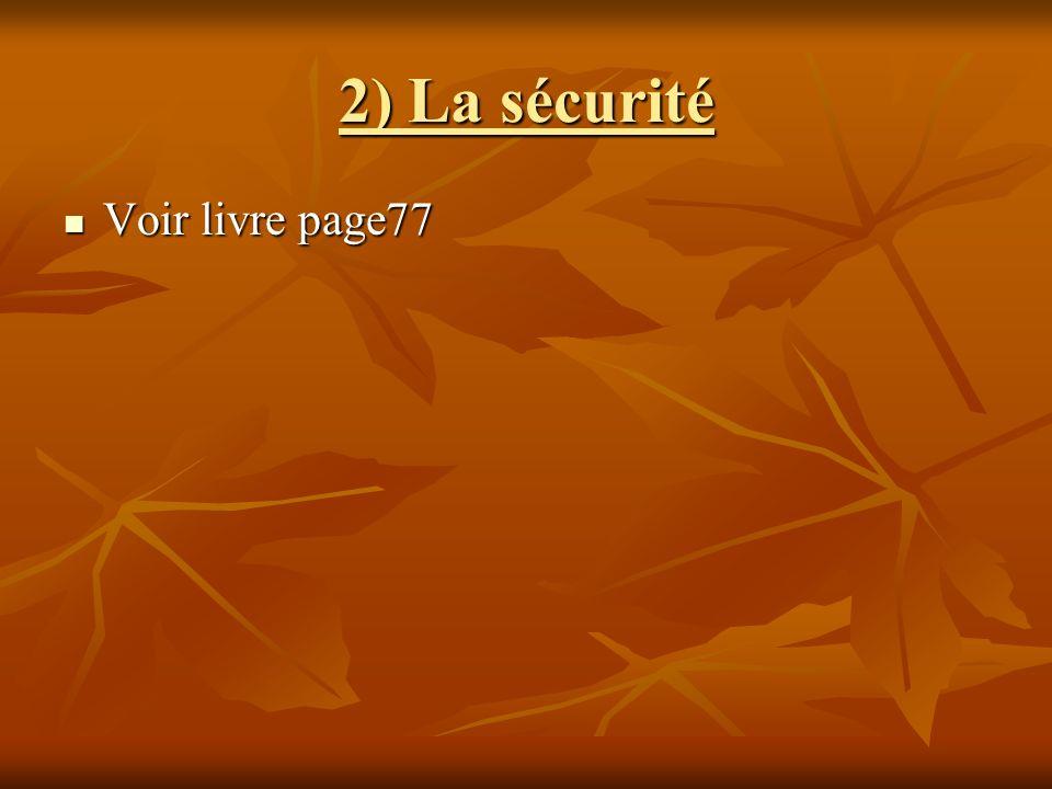 2) La sécurité Voir livre page77