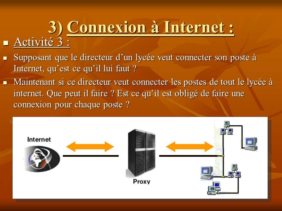 3) Connexion à Internet :