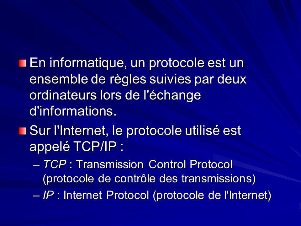 Sur l Internet, le protocole utilisé est appelé TCP/IP :