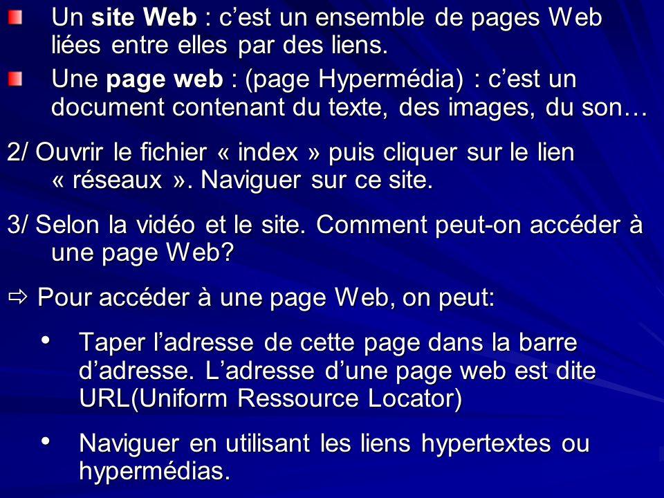 Un site Web : c'est un ensemble de pages Web liées entre elles par des liens.