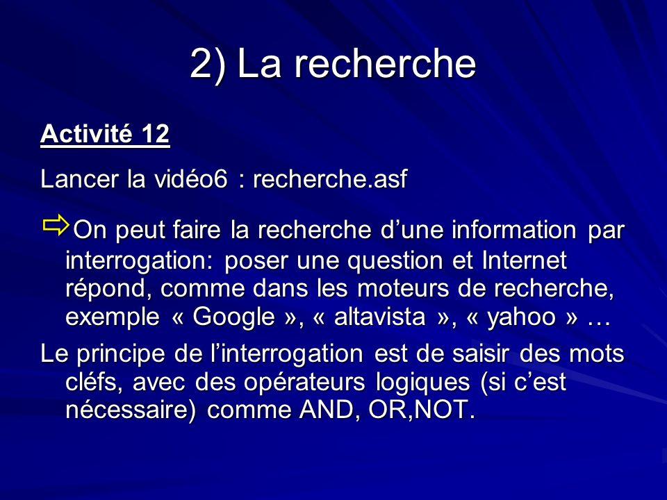2) La recherche Activité 12. Lancer la vidéo6 : recherche.asf.