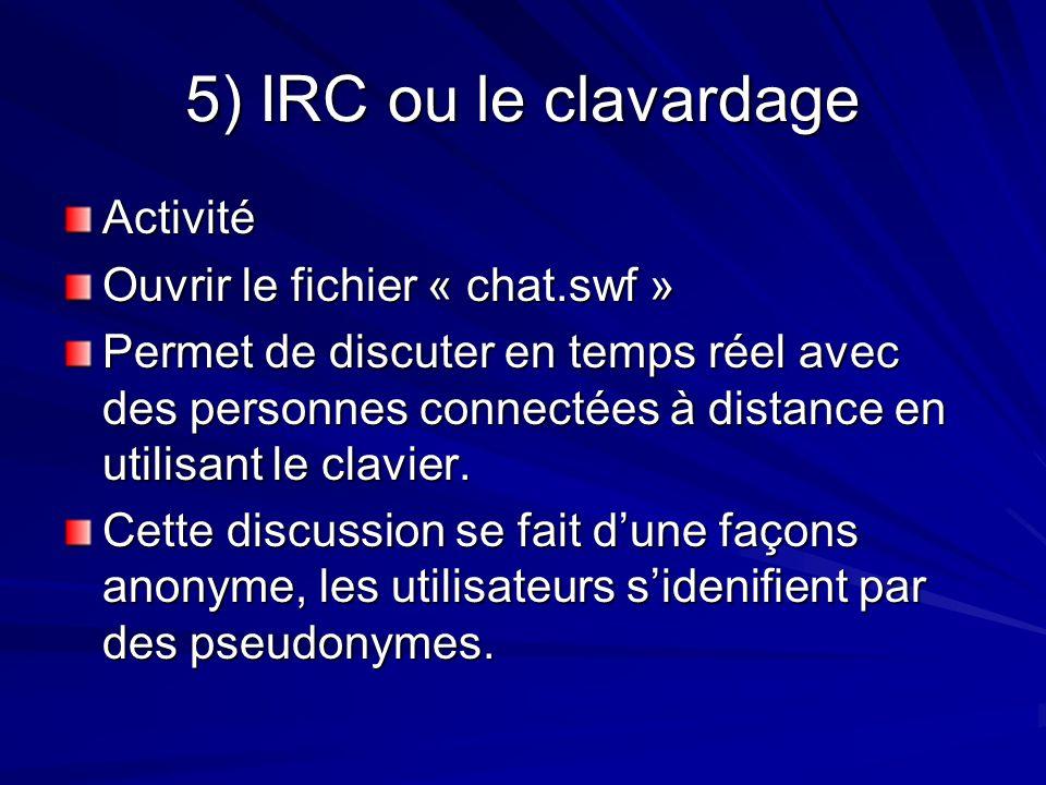 5) IRC ou le clavardage Activité Ouvrir le fichier « chat.swf »