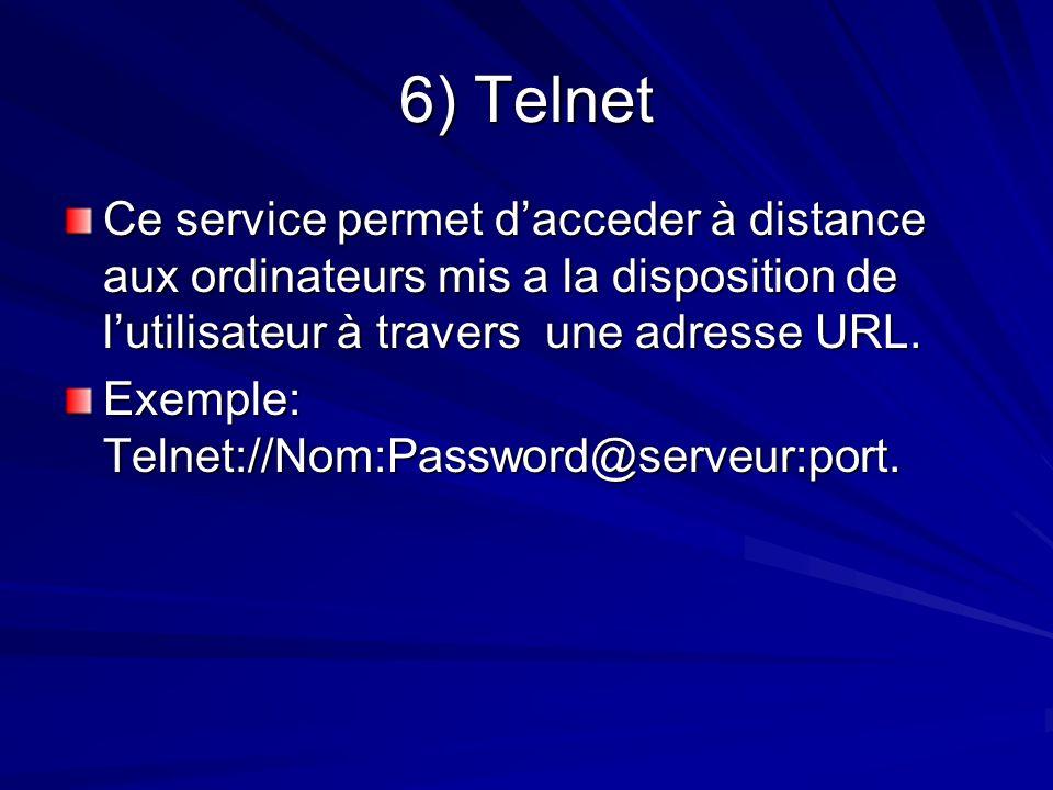 6) Telnet Ce service permet d'acceder à distance aux ordinateurs mis a la disposition de l'utilisateur à travers une adresse URL.