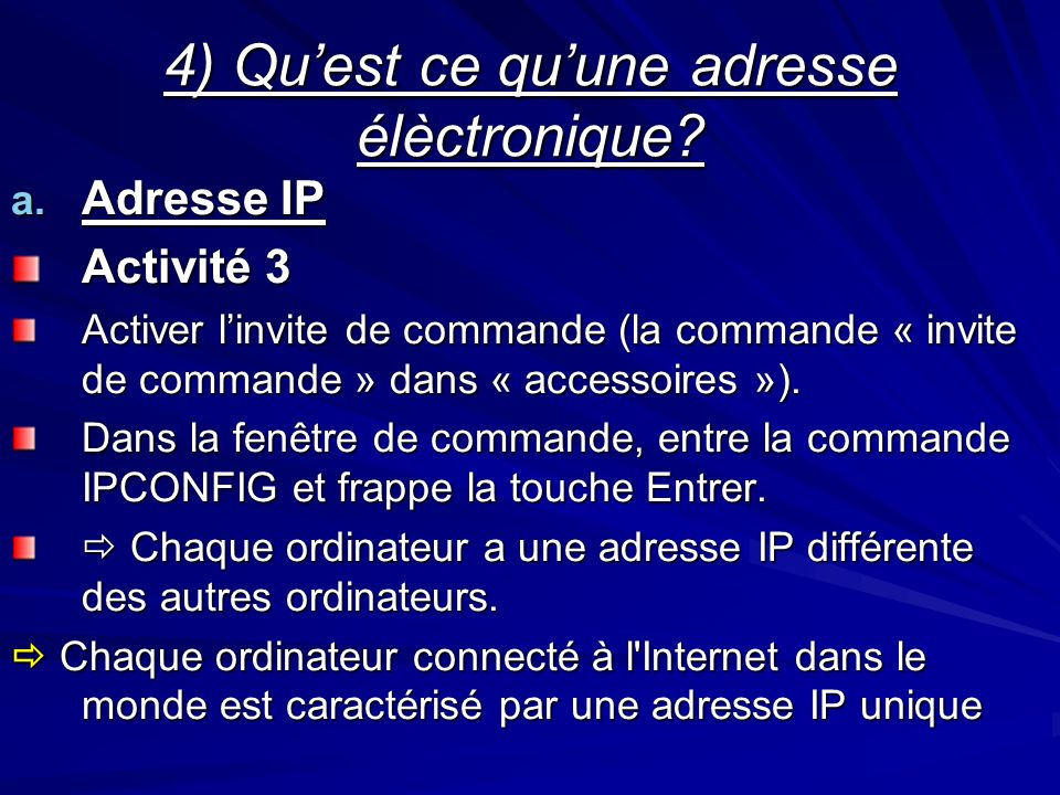 4) Qu'est ce qu'une adresse élèctronique