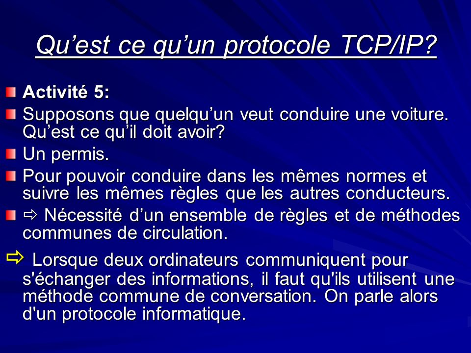 Qu'est ce qu'un protocole TCP/IP