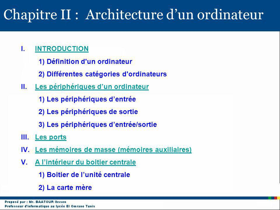 Chapitre II : Architecture d'un ordinateur