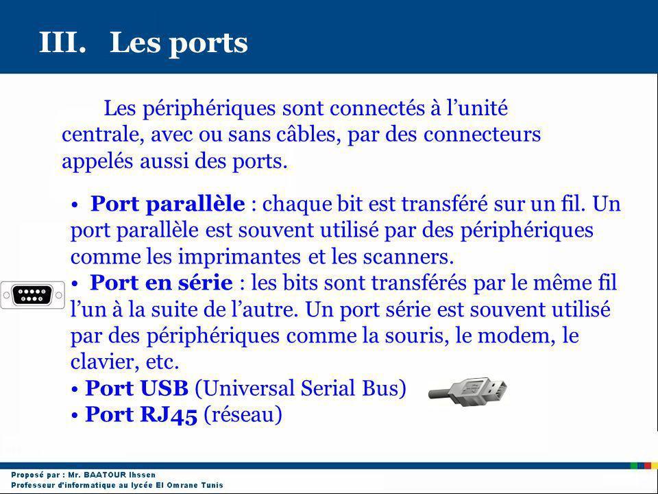 III. Les ports Les périphériques sont connectés à l'unité centrale, avec ou sans câbles, par des connecteurs appelés aussi des ports.