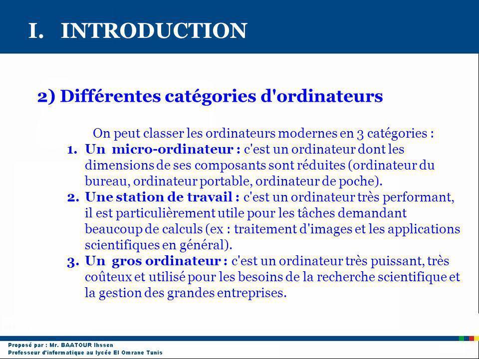 I. INTRODUCTION 2) Différentes catégories d ordinateurs