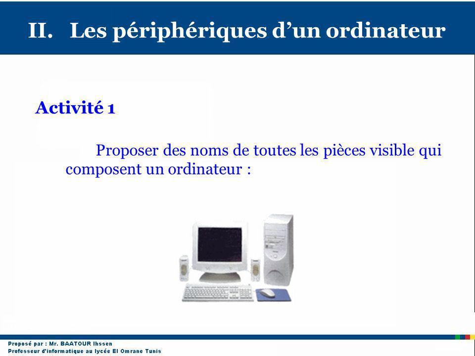 II. Les périphériques d'un ordinateur