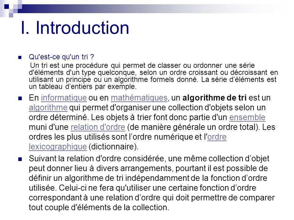 I. Introduction Qu est-ce qu un tri