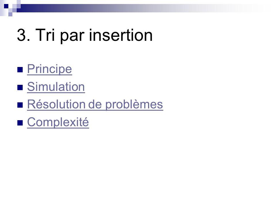 3. Tri par insertion Principe Simulation Résolution de problèmes