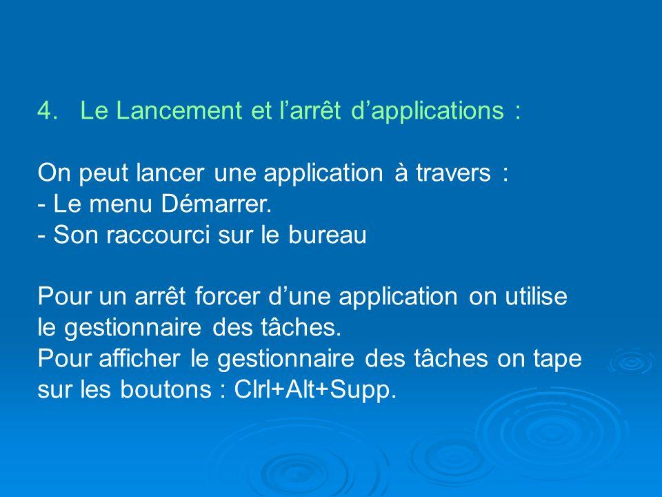 4. Le Lancement et l'arrêt d'applications :