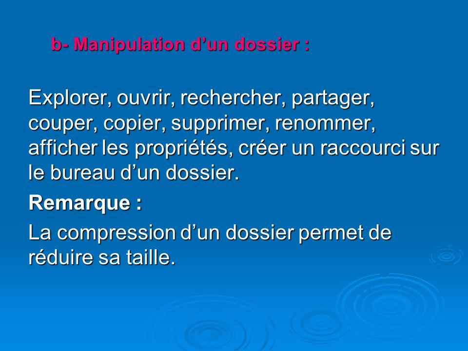 b- Manipulation d'un dossier :