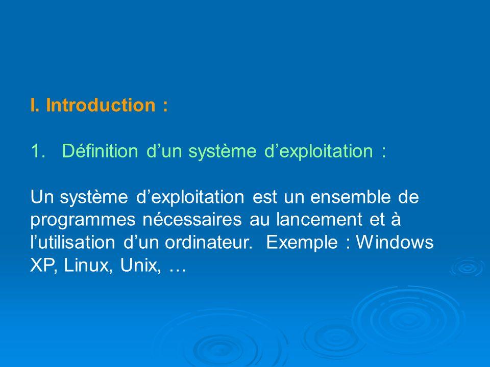 I. Introduction : 1. Définition d'un système d'exploitation :