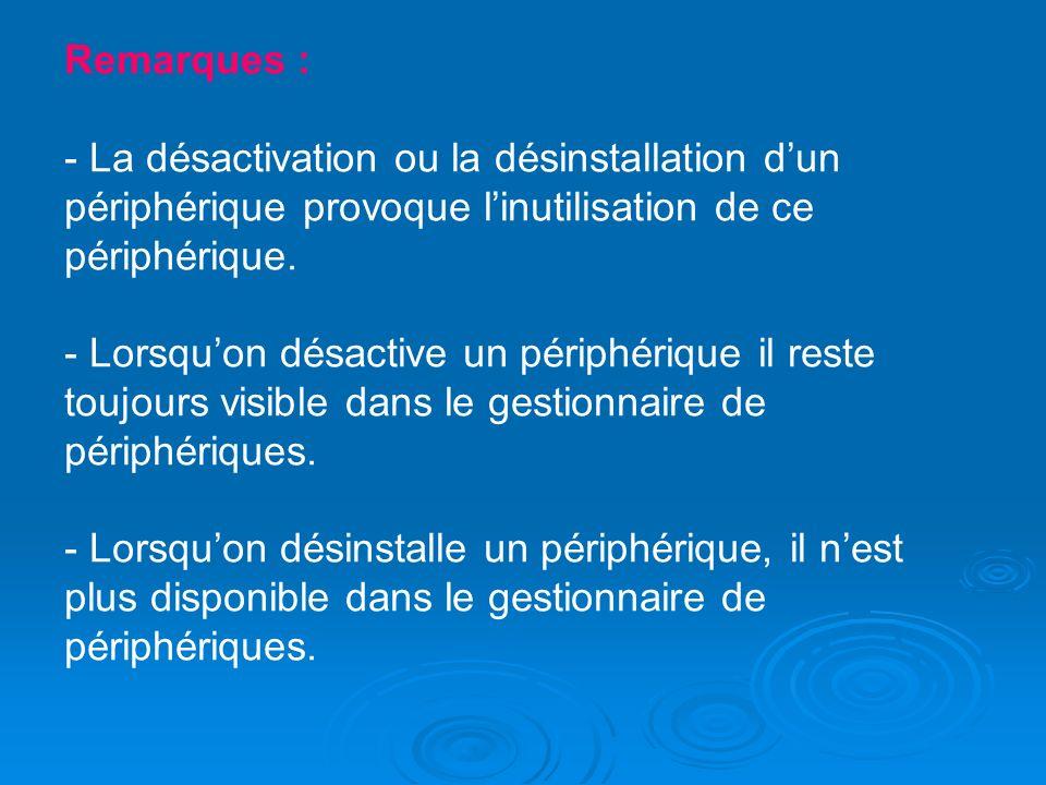 Remarques : - La désactivation ou la désinstallation d'un périphérique provoque l'inutilisation de ce périphérique.