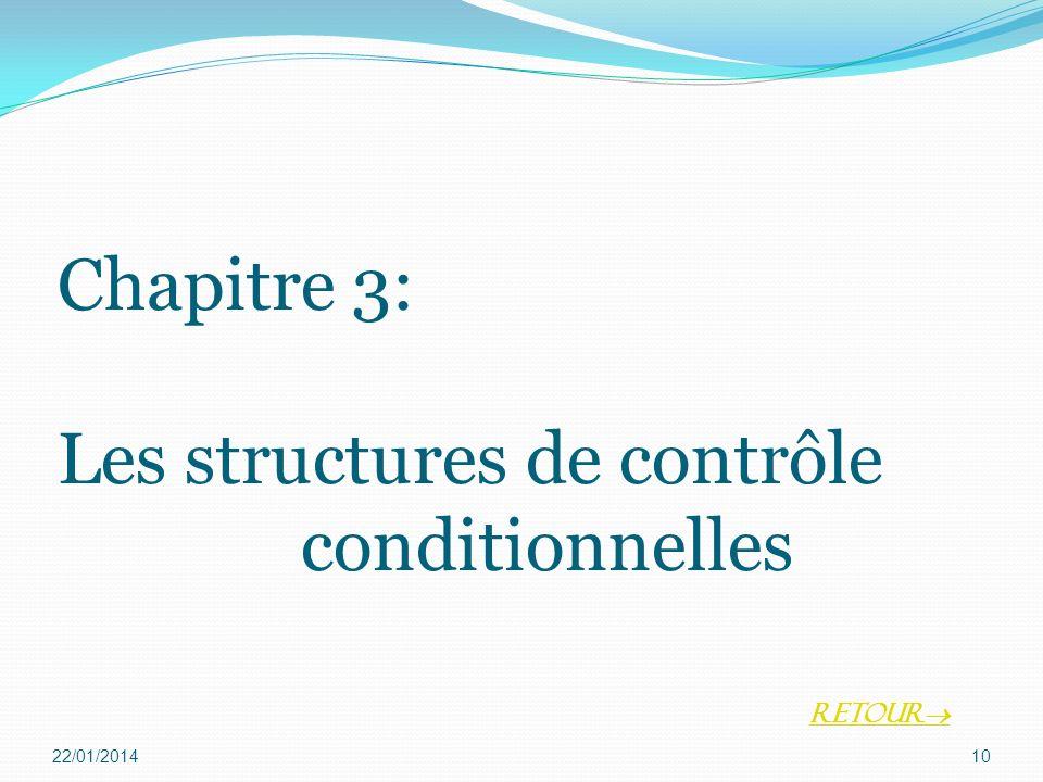 Chapitre 3: Les structures de contrôle conditionnelles