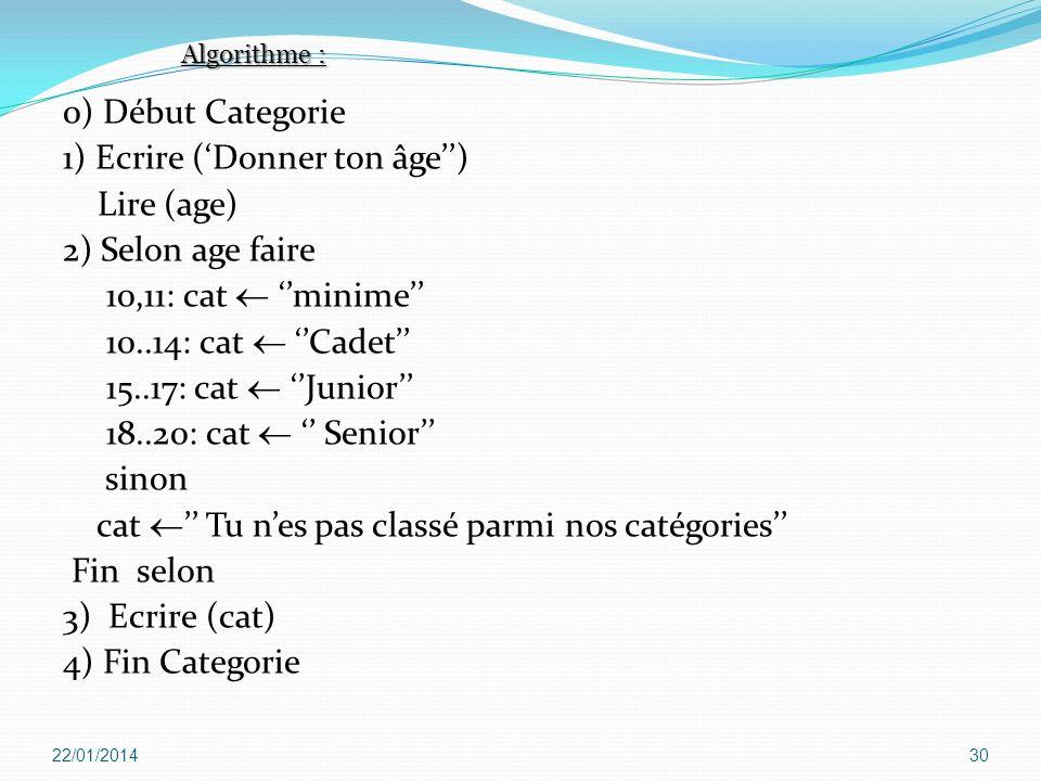 1) Ecrire ('Donner ton âge'') Lire (age) 2) Selon age faire