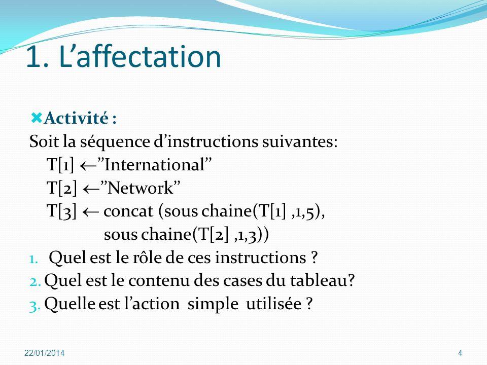 1. L'affectation Activité : Soit la séquence d'instructions suivantes: