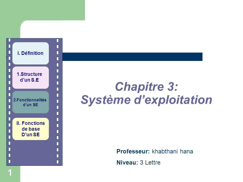 Chapitre 3: Système d'exploitation