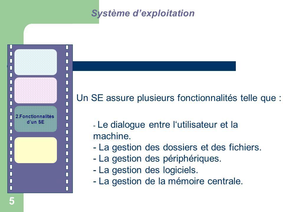 Un SE assure plusieurs fonctionnalités telle que :