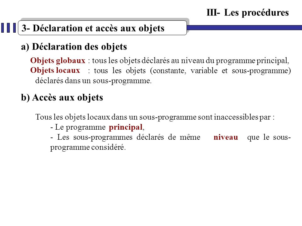 3- Déclaration et accès aux objets
