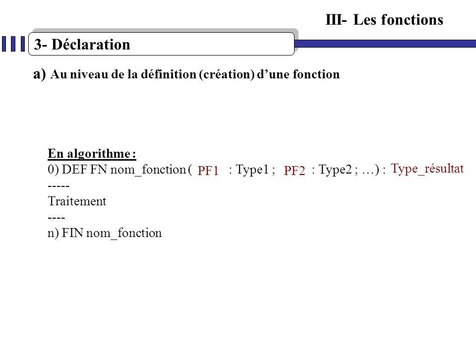 a) Au niveau de la définition (création) d'une fonction