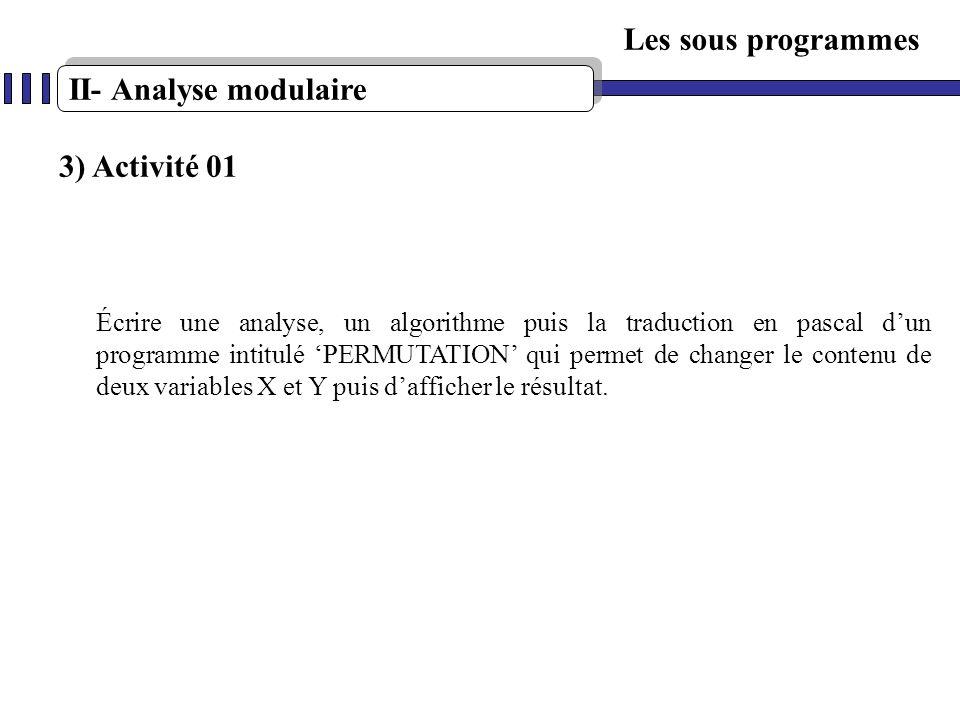 Les sous programmes II- Analyse modulaire 3) Activité 01