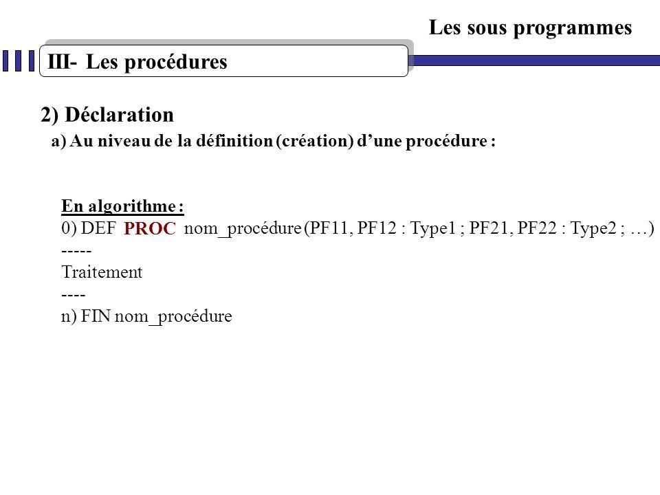 Les sous programmes III- Les procédures 2) Déclaration