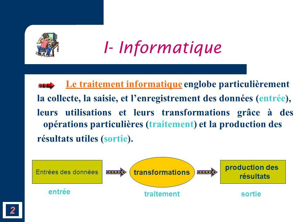 I- Informatique Le traitement informatique englobe particulièrement. la collecte, la saisie, et l'enregistrement des données (entrée),