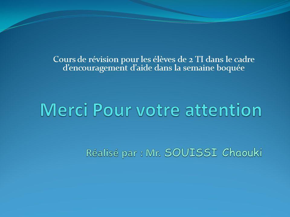 Merci Pour votre attention Réalisé par : Mr. SOUISSI Chaouki