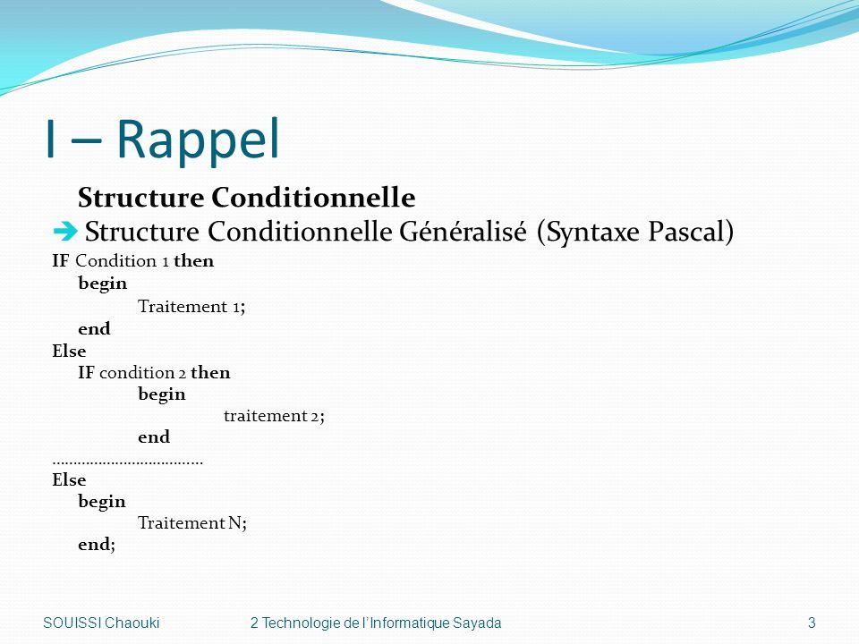 I – Rappel Structure Conditionnelle