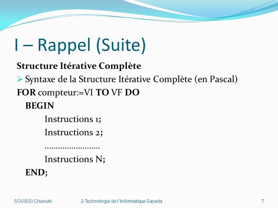 I – Rappel (Suite) Structure Itérative Complète