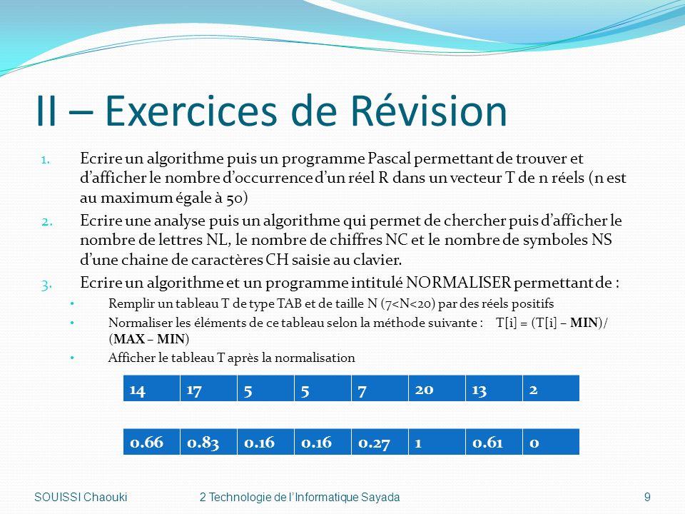 II – Exercices de Révision