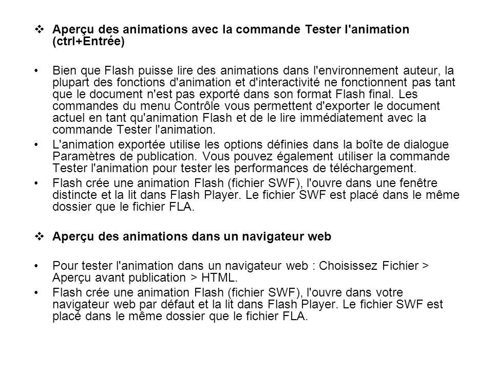 Aperçu des animations avec la commande Tester l animation (ctrl+Entrée)